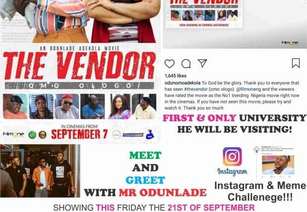 Imagine Cinemas Premiers Odunlade's Movie, The Vendor In Funaab.